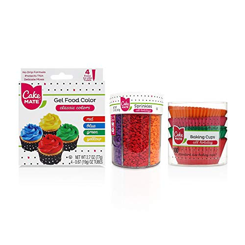 Cake Mate All Holiday Decorating Supplies - Includes: All Holiday Sprinkle Mix, Gel Food Color, All Holiday Baking Cups Set, 1 Pack