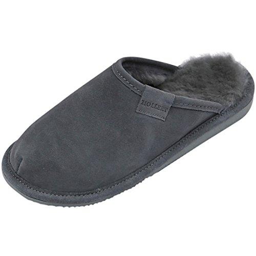 Hollert Damen Lammfell Hausschuhe Frau Holle GRAU Pantoffeln Puschen 100% Merino Lammfell Echtleder für Wohlgefühl - warm, atmungsaktiv Schuhgröße EUR 42