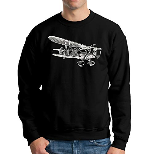 NozzFlux Vintage Airplane Men's Crew Neck Hoodie Hoodie Jacket Hoody Pullovers Sweatshirt Fleeces Costume Black 3XL