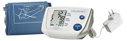 """LifeSource Upper Arm Blood Pressure Monitor, Small Cuff for Thin Arms, Fits 6.3"""" – 9.4"""" (UA-767PSAC)"""