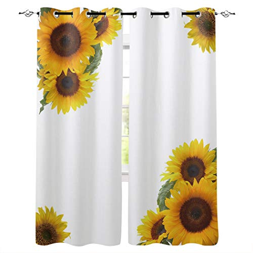 "T&H Home Draperies & Curtains Set, Sunflower Curtain by, Simple Fresh Design White Background Window Curtain, 2 Panels Curtain for Sliding Glass Door Patio Door Bedroom Living Room, 104"" W by 84"" L"