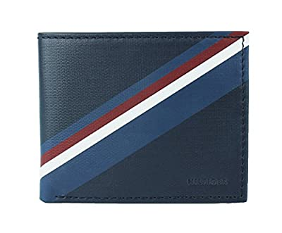 New Tommy Hilfiger Men's Leather Double Billfold Passcase Wallet & Valet/Navy (Navy)