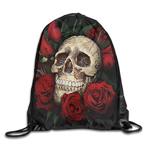 DSGFSQ Sporttaschen Turnbeutel Drawstring Backpack Gym Bag Travel Backpack Skull and Roses Small Drawstring Backpacks for Women Men Adults