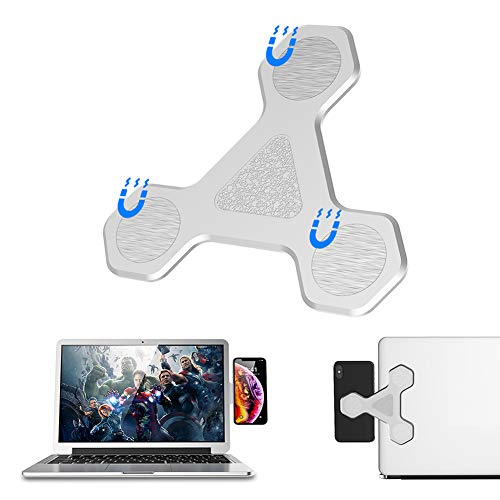 Universal Side Mount Magnetic Bracket Clip Laptop Stand Mobile Phone Holder, Computer Monitor Stand for Tablet & Phone Bracket (Silver)