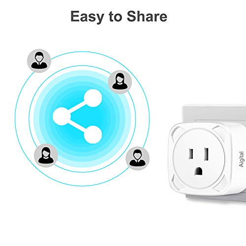 Aigital Smart Plug Alexa WiFi Plug Smart Outlet with Remote Smart Plug That Work with Alexa Google Assistant for Voice Control WiFi Plug Timing Function,No Hub Required【2 Packs】