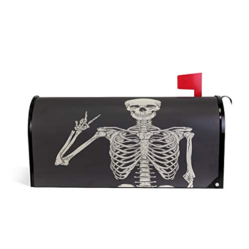 Squelette Humain Tête de mort Bienvenue magnétique Boîte aux lettres Boîte aux lettres Coque stratifiées, Noir et Blanc Taille standard Makover Mailwrap Garden Home Decor 64.7x52.8cm multicolore