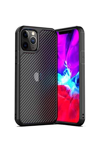 kyoor. TPU - Carbon Optik Hülle - Premium Schutzhülle - für iPhone (iPhone 12/12 Pro, Schwarz)
