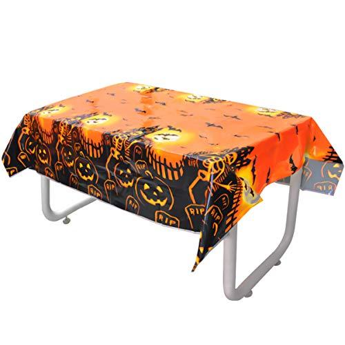 Jinlaili Mantel de Halloween, Mantel Rectangular Desechable, Mantel de Plástico de Murciélago Esqueleto de Calabaza para Decoración de Interiores y Exteriores de Fiesta de Halloween (137cm * 180cm)