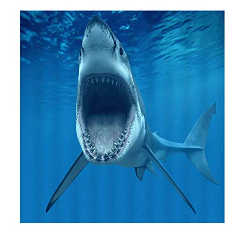 Fish Shark Jigsaw Puzzle 300 Pieces Puzzle for Kids and Adult Seabed Animal Decor Megalodon Open Mouth Foraging Underwater Digital Print, Blue
