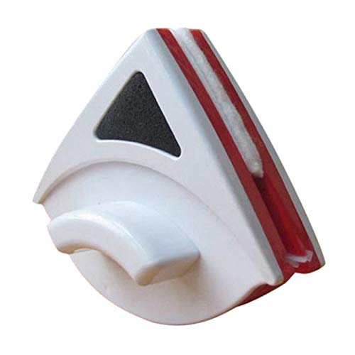Karrychen Triangular Doppelseiten-Scheibenwischer Magnetische Fensterreinigungsbürste Glasreiniger-Rot + Weiß # 01