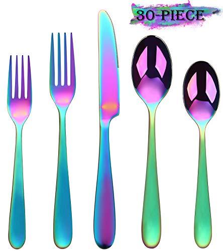 Buntes Regenbogen-Besteck-Set, 30-teilig, Edelstahl, buntes Besteck-Set, Besteck-Set für 6 Personen, inklusive hochglanzpolierter Messer/Gabel/Löffel, spülmaschinenfest