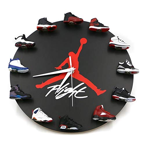 Wall Clock with 3D Mini Sneakers, Sneakerhead Style Decor Air Jordan 1 to 12 Clock for Gift (Black)