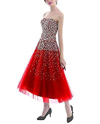 Red Short Dress with Rhinestones