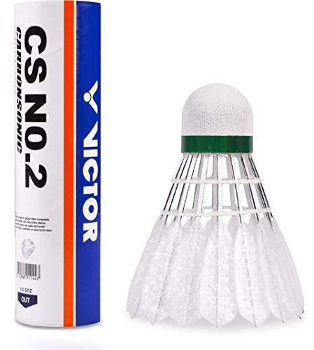 VICTOR Carbon-Badmintonball Federball Carbonsonic CS No. 2, mit Schaumfedern und Carbongerüst
