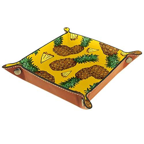 AITAI Bandeja de valet de piel vegana para mesita de noche, organizador de escritorio, plato de almacenamiento Catchall, frutas tropicales, color amarillo