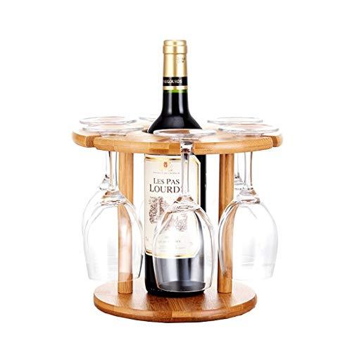 DAGONGREN Portavasos de Vino, Botella de Vino de bambú Soporte de Vidrio Que cuelga al revés Copas de Copa Estante de exhibición for 6pcs Vasos de Copas y Botella de Vino