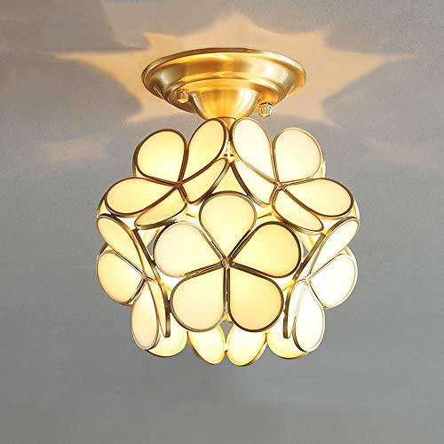 XLTT Lámpara de techo con personalidad creativa llena de flores, de cobre, para balcón, pasillo, porche, pasillo, armario, vestidor, 20 cm x 23 cm (color: blanco)