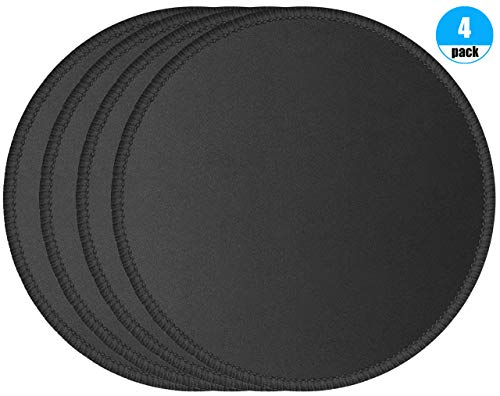 Foroffice 4 Pack Computer Mouse Pad with Non-Slip Rubber Base, Premium-Textured Mousepads Bulk with Stitched Edges, Mouse Pads Pack for Computers, Laptop, PC, Office & Home, 7.9x7.9 inches, 3mm, Black