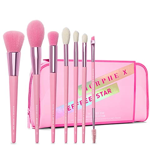 Morphe x Jeffree Star Eye and Face Brush Collection - 7 Piece Set - Foundation, Precision, Contour, Highlight, Crease, Blender, and Double-Ended Brow and Spoolie Brushes