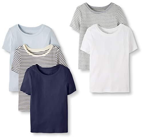 Moon and Back by Hanna Andersson Lot de 5 T-shirts à col rond en coton bio pour tout-petits, enfants, bleu marine, 4 ans (97-107 CM)