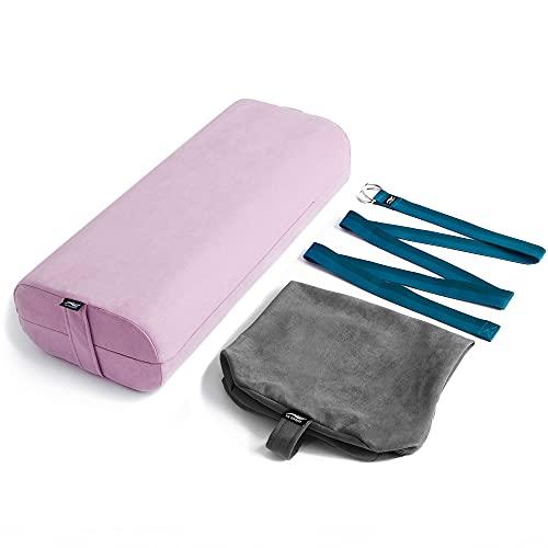 Bolster de yoga Victorem - Cojín de meditación con funda adicional lavable a máquina, almohada bolster duradera con asa - Cojín de yoga resistente con correa incluida