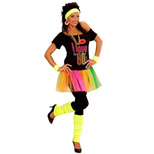 NET TOYS 80er Jahre Neon Stulpen Beinwärmer gelb Aerobic Stutzen Beinstulpen Strümpfe Legwarmer Stulpe Gamasche Damen Kostüm Accessoires