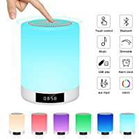 Ranipobo Night Light Bluetooth Wireless Stereo Speaker with Alarm Clock, MP3 Player, FM Radio, Touch Control Table Lamp Dimmable Warm Lights & 7 Colors Themes
