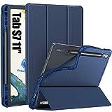 INFILAND Funda Case para Samsung Galaxy Tab S7 11(SM-T870/T875) 2020, Estuche Carcasa TPU Translúcida para S Pen,Smart Book Cover con Auto Reposo/Activación para Samsung Tab S7 11,Azul Oscuro
