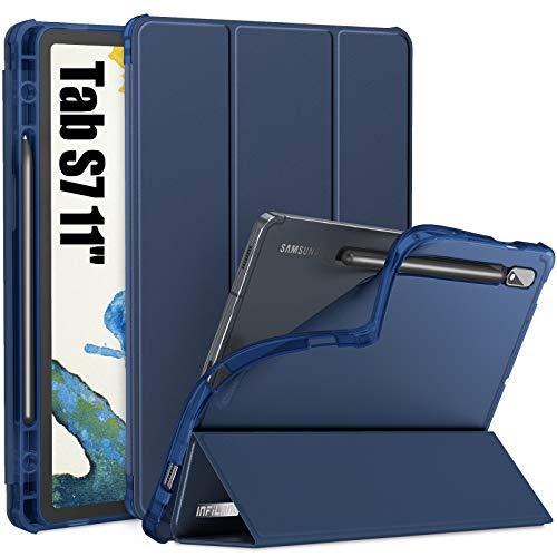INFILAND Cover per Samsung Galaxy Tab S7 11 2020, Morbida in TPU Trasparente Custodia con Portapenne per Samsung Galaxy Tab S7 11 (T870/T875) 2020, Automatica Svegliati/Sonno, Marina Militare
