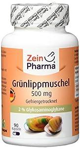 ZeinPharma Grünlippmuschel Extrakt 500 mg 90 Kapseln (Monatspackung) reich an Omega-3-Fettsäuren (27%) und GAG (2%) Hergestellt in Deutschland, 53 g