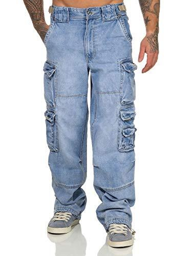 Jet Lag Herren Cargohose Jeans Hose 007 Loose-Fit Seitentaschen Denim Bleached XL/32