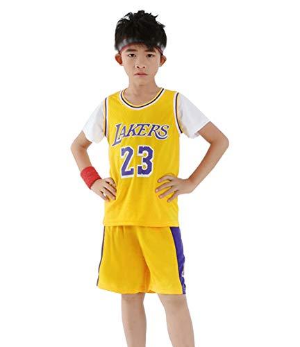Basketball Jersey Westen Lakers James # 23 Für Jungen Mädchen, Top und Shorts 2-teiliges Set Sportbekleidung Baby Breathable Sports T-Shirt Anzug-Yellow-XXS