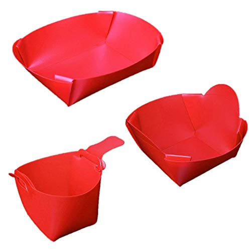 3 Pieces Red Portable Foldable Camping Tableware Set Lightweight Folding Bowl Plate Cup Travel Kit Chopping Board