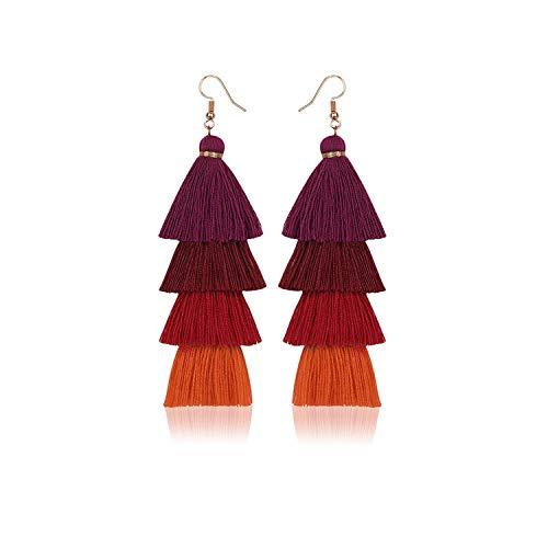 2020 Hot Bohemian Fringe Long Gradient Drop Earrings Women Fashion Jewelry Dangle Long String Ethnic Tassel Earrings-Dark Red-