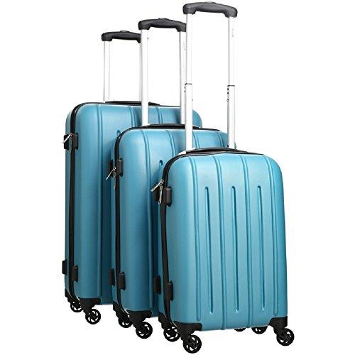 Pure - Hartschalen-Koffer Colorful - 3-teiliges Trolley-Set - Reisekoffer mit 4 Rollen und Zahlenschloss in den Größen S, M & L - Türkis