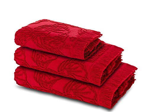 Ardenza Juego de 3 toallas de rizo | Toalla de cara 33x50cm | Toalla de mano de 48x90cm | Toalla de ducha 70x140cm | Alta absorción | Toallas de rizo 520 g/m² (Bordeau)