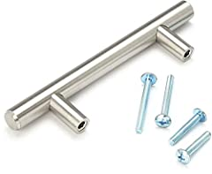 """100% Solid Steel Material (Heavyweight) 4X SCREWS per handle, US Standard #8-32 (NOT METRIC) / 2x 1"""" and 2x 1-3/4"""" (for drawers) Brushed Satin Nickel Finish Total Bar Length 5 inch - Distance Between Screws 3 inch (76mm) - 1/2 inch Diameter"""