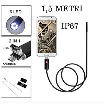 Telecamera endoscopica USB con 8/LED regolabili endoscopio USB di tipo USB HD ispezione fotocamera per smartphone Android,70/gradi focale angolo di visione