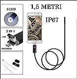 Telecamera endoscopica micro usb usb per telefono android e pc con luce led 1,5 metri
