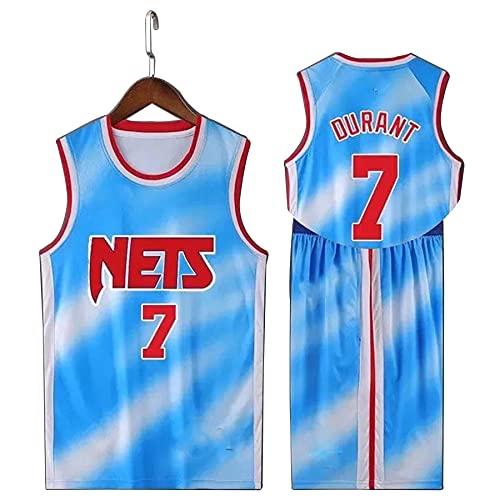 Brooklyn Nets # 7 Kevin Durant Basketball Uniform Kit, 2021 Nuovo Outdoor Senza Maniche Quick Dry Traspirante Jersey T-shirt + Shorts blu-L