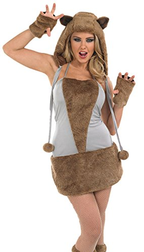 Damen Sexy Braunbär Fox Wolf Tier Halloween Kostüm Kleid Outfit UK 8-30 Übergröße - Braun, 28-30