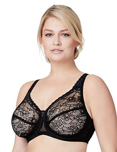 Bramour by Glamorise Women's Full Figure Plus Size Underwire Sheer Lace Back Close Bra-Nolita #7007, Black, 40DD