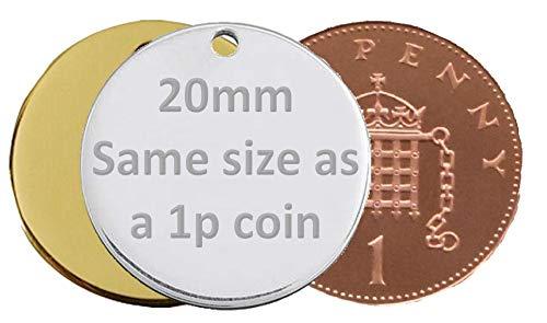 JK Personalisierbare Hundemarke, rund, Knochenform, für kleine / große Haustiere, 20 mm, Gold/Messing