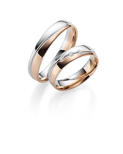 Rubin Juwelier Paire dalliances bicolores en or 333 poli avec gravure + pierre