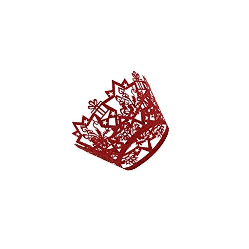 Lot de 50pcs Papier Caissette de Petit Gâteau Cupcake Muffin Motif Découpée de Noël - Rouge
