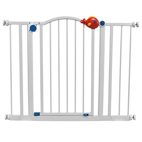 Walk Thru Baby Gate,Safety Gate Metal Expandable Baby Pet Safety Gate Auto-Close with Pressure Mount with 7 cm & 14 cm Extension,Fits Spaces Between 100 to 103 cm Wide 80 cm High