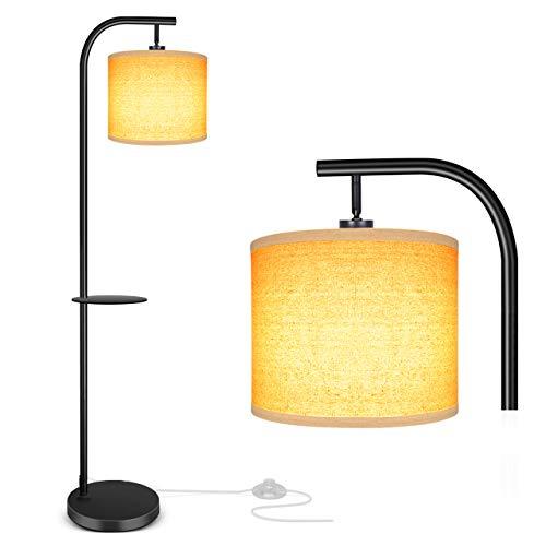 OOWOLF Stehlampe LED, Stehlampe Modern für Wohnzimmer Schlafzimmer, austauschbare E27 Glühbirne (max 60W), 168cm Höhe, robuste & einfache Installation, für Wohnzimmer, Schlafzimmer, Büro, schwarz.