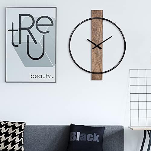 WOMO-DESIGN | Design Wanduhr Oslo Ø92cm Rund aus Eisen und Mangoholz im skandinavischen Stil Schwarz-Natur, leises Uhrwerk ohne Tickgeräusche Dekorative Uhr, Retro Designuhr, Industrie Holz/Metall Uhr
