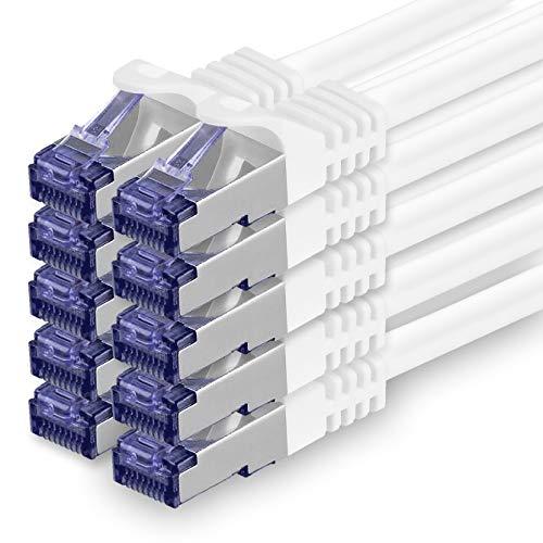 Cat.7 Netzwerkkabel 0,5m - Weiß - 10 Stück - Cat7 Patchkabel (SFTP/PIMF/LSZH) Rohkabel 10 Gb/s mit Rj 45 Stecker Cat.6a - 10 x 0,5 Meter Weiß
