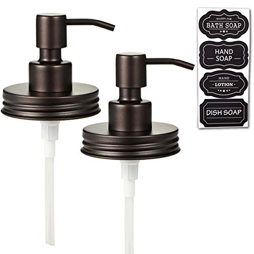 Elwiya 16 OZ Rust-proof Mason Jar Foaming Soap Dispensers with Waterproof Stickers 2 Pack Black